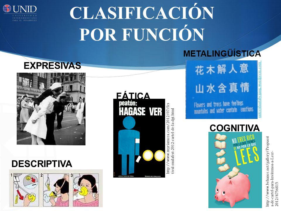 CLASIFICACIÓN POR FUNCIÓN COGNITIVA http://www.behance.net/gallery/Propuest a-de-cartel-para-Invitemos-a-Leer- 2012/4756815 FÁTICA http://www.myriamce