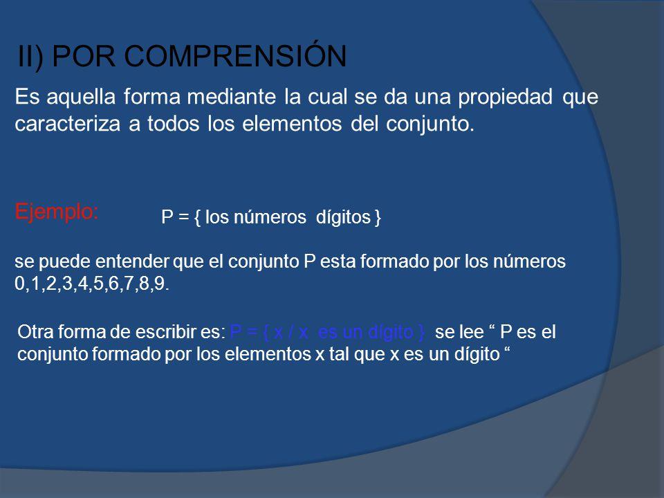 II) POR COMPRENSIÓN Es aquella forma mediante la cual se da una propiedad que caracteriza a todos los elementos del conjunto. Ejemplo: se puede entend