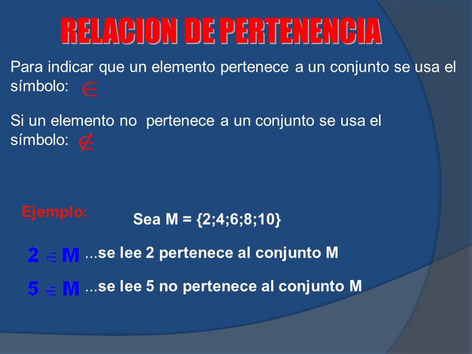 Para indicar que un elemento pertenece a un conjunto se usa el símbolo: Si un elemento no pertenece a un conjunto se usa el símbolo: Ejemplo: Sea M =