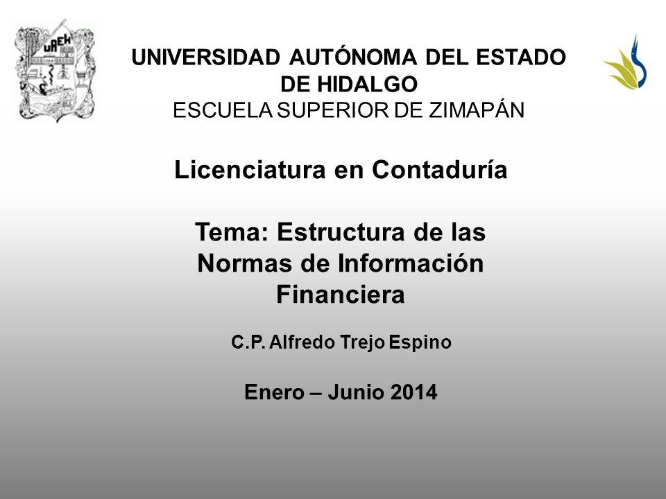 UNIVERSIDAD AUTÓNOMA DEL ESTADO DE HIDALGO ESCUELA SUPERIOR DE ZIMAPÁN Licenciatura en Contaduría Tema: Estructura de las Normas de Información Financiera C.P.