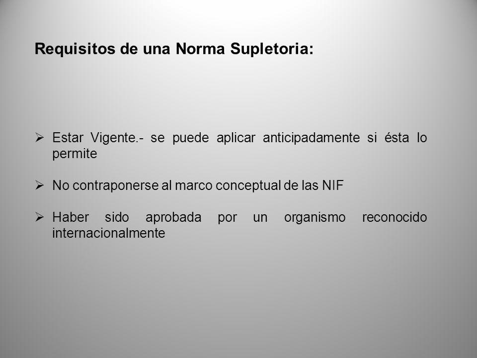 Requisitos de una Norma Supletoria: Estar Vigente.- se puede aplicar anticipadamente si ésta lo permite No contraponerse al marco conceptual de las NIF Haber sido aprobada por un organismo reconocido internacionalmente