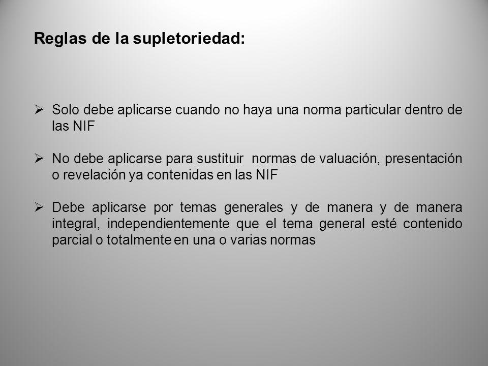Reglas de la supletoriedad: Solo debe aplicarse cuando no haya una norma particular dentro de las NIF No debe aplicarse para sustituir normas de valua
