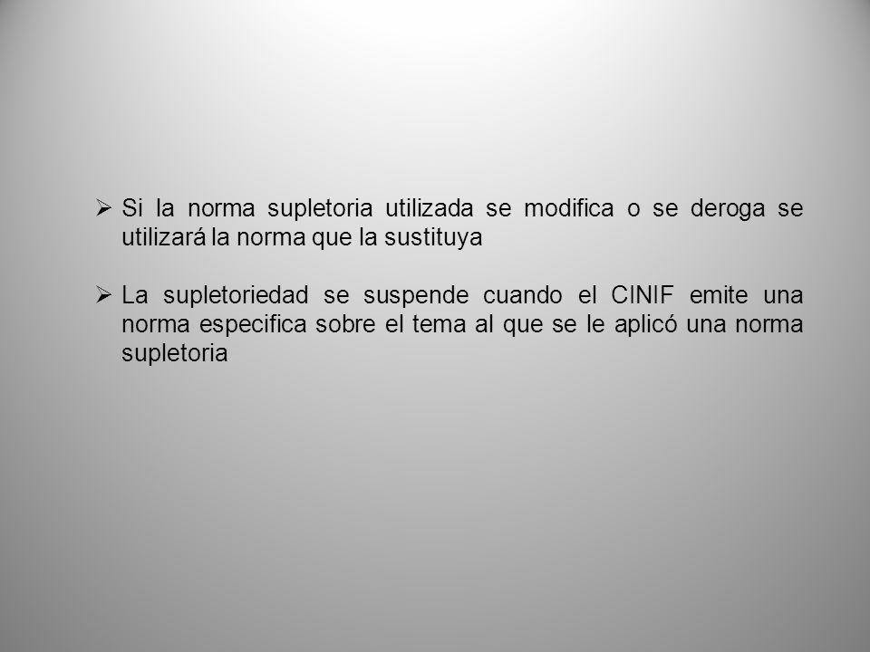 Si la norma supletoria utilizada se modifica o se deroga se utilizará la norma que la sustituya La supletoriedad se suspende cuando el CINIF emite una norma especifica sobre el tema al que se le aplicó una norma supletoria