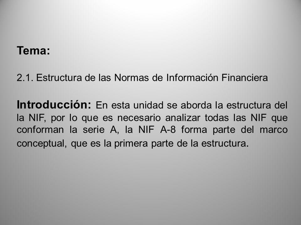 Tema: 2.1. Estructura de las Normas de Información Financiera Introducción: En esta unidad se aborda la estructura del la NIF, por lo que es necesario