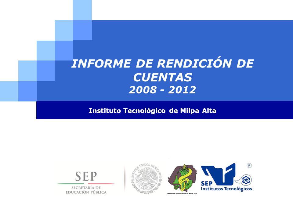 INFORME DE RENDICIÓN DE CUENTAS 2008 - 2012 Instituto Tecnológico de Milpa Alta