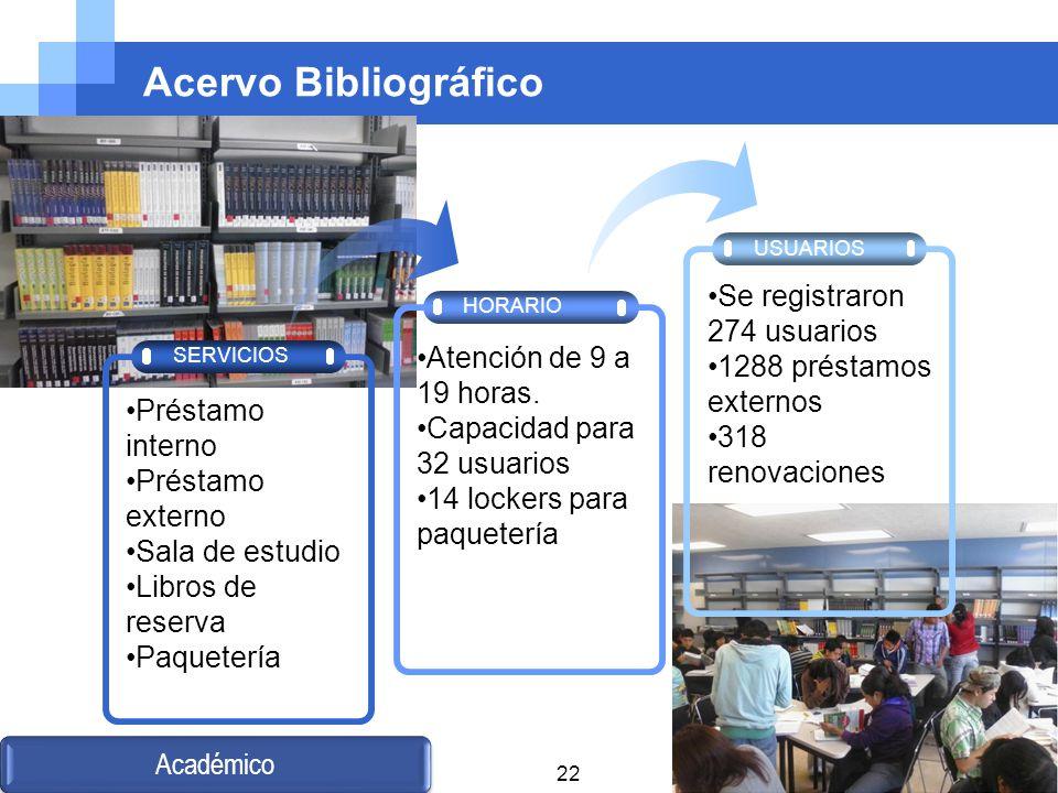 Acervo Bibliográfico HORARIO USUARIOS SERVICIOS Préstamo interno Préstamo externo Sala de estudio Libros de reserva Paquetería Atención de 9 a 19 hora