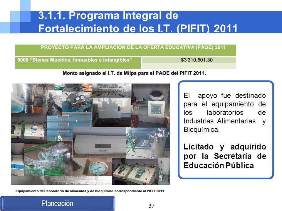 3.1.1. Programa Integral de Fortalecimiento de los I.T. (PIFIT) 2011 Planeación El apoyo fue destinado para el equipamiento de los laboratorios de Ind