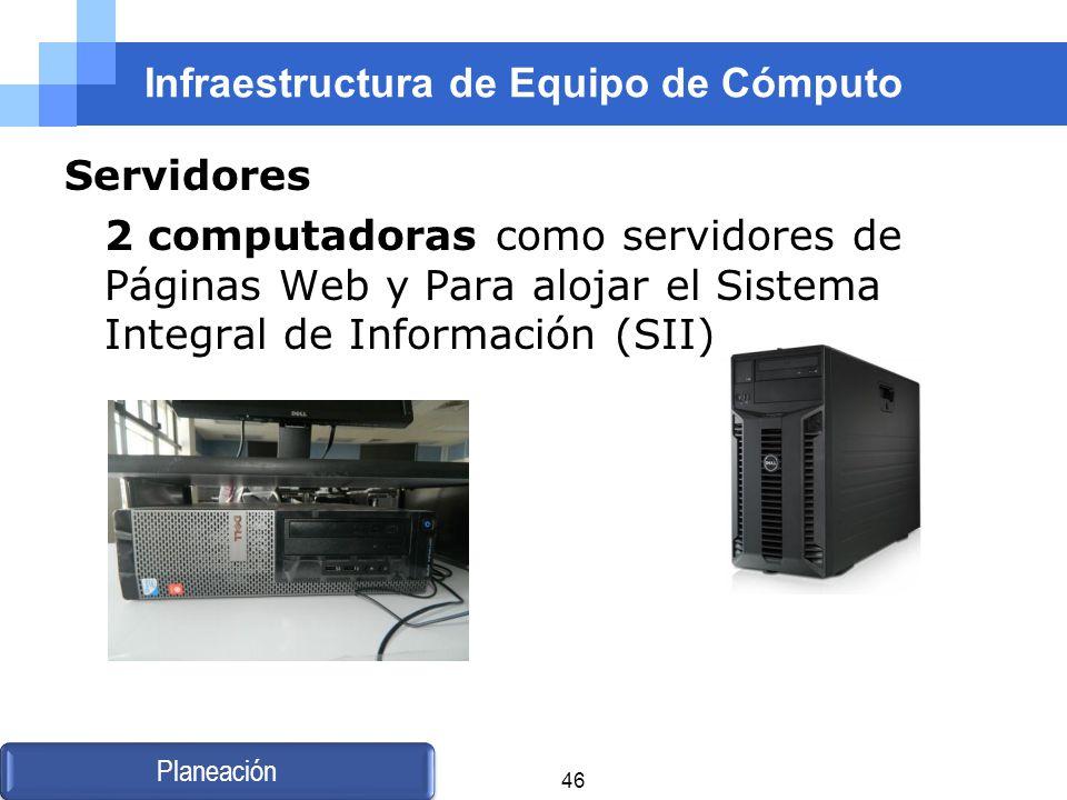 Infraestructura de Equipo de Cómputo Servidores 2 computadoras como servidores de Páginas Web y Para alojar el Sistema Integral de Información (SII) P