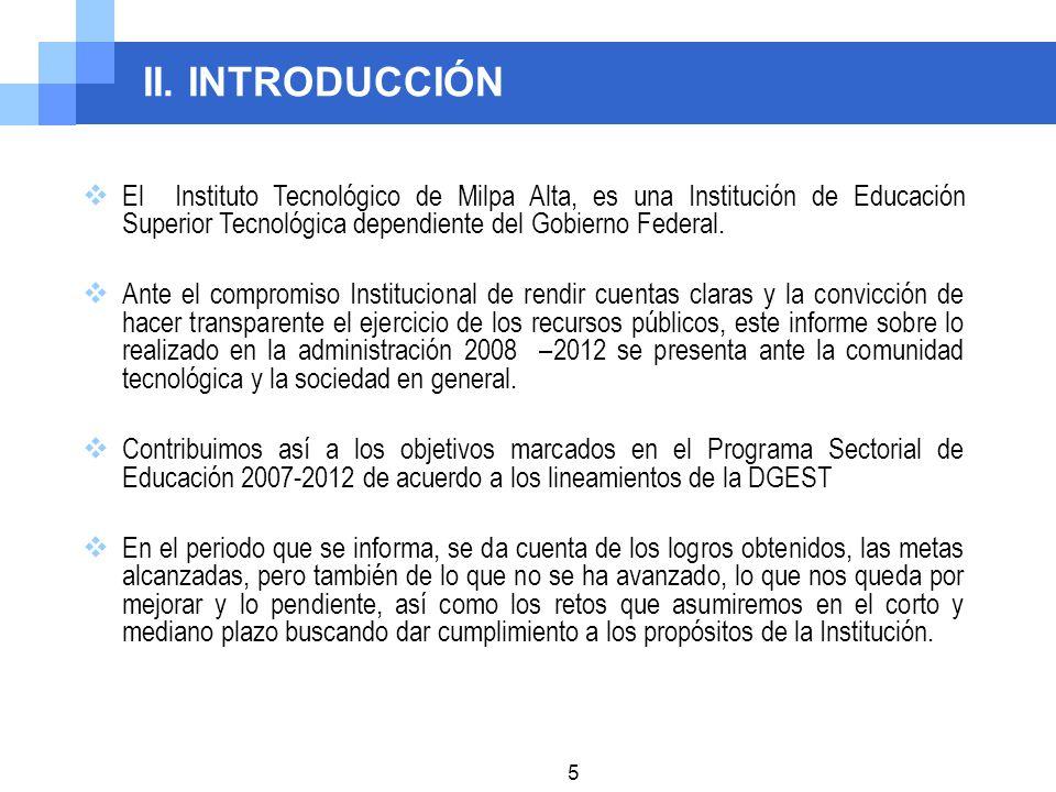 II. INTRODUCCIÓN El Instituto Tecnológico de Milpa Alta, es una Institución de Educación Superior Tecnológica dependiente del Gobierno Federal. Ante e