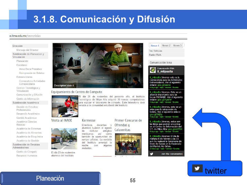 3.1.8. Comunicación y Difusión Planeación twitter 55