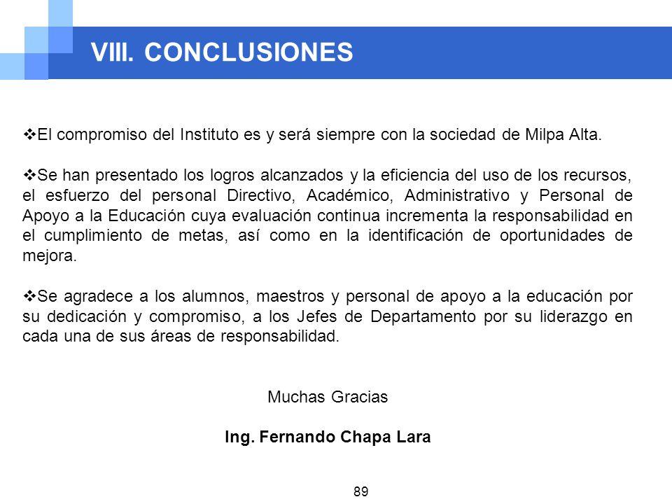 VIII. CONCLUSIONES 89 El compromiso del Instituto es y será siempre con la sociedad de Milpa Alta. Se han presentado los logros alcanzados y la eficie
