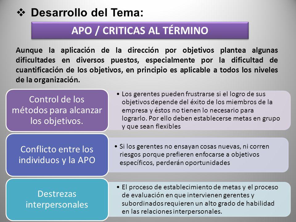 Desarrollo del Tema: APO / CRITICAS AL TÉRMINO Los gerentes pueden frustrarse si el logro de sus objetivos depende del éxito de los miembros de la empresa y éstos no tienen lo necesario para lograrlo.