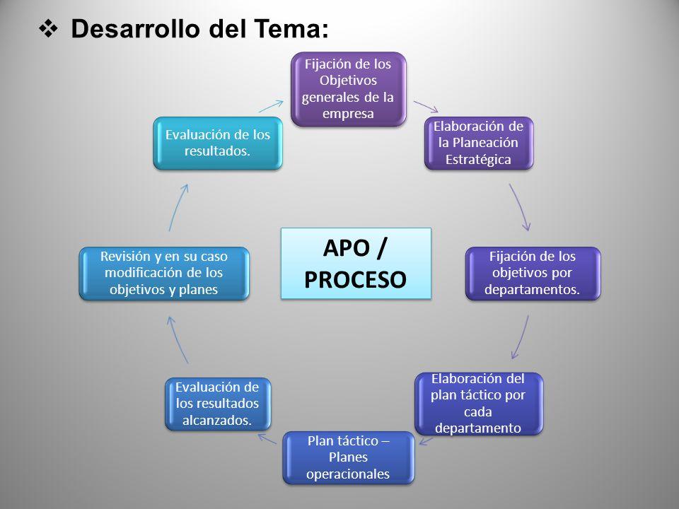 Desarrollo del Tema: APO / PROCESO Fijación de los Objetivos generales de la empresa Elaboración de la Planeación Estratégica Fijación de los objetivos por departamentos.