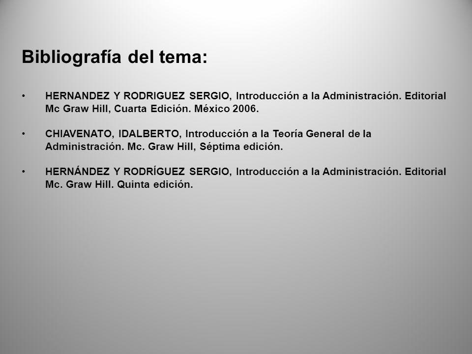 Bibliografía del tema: HERNANDEZ Y RODRIGUEZ SERGIO, Introducción a la Administración.