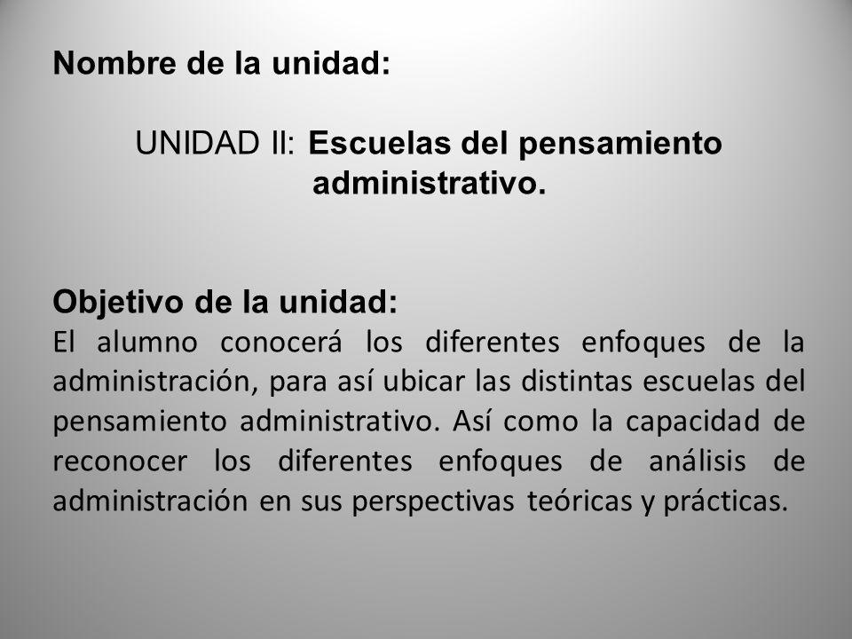 Nombre de la unidad: UNIDAD II: Escuelas del pensamiento administrativo.