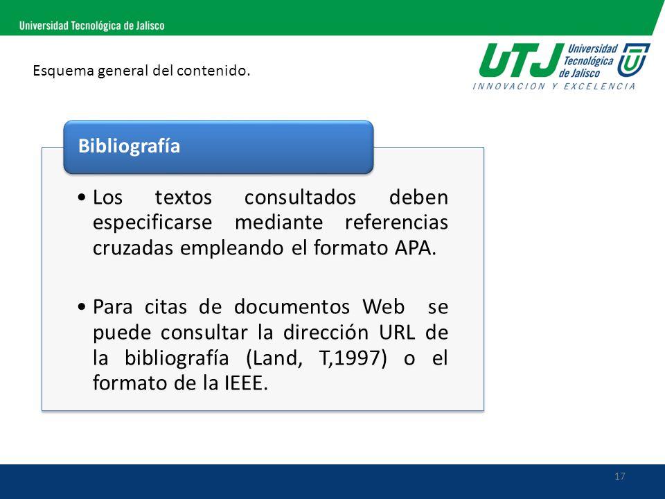 17 Esquema general del contenido. Los textos consultados deben especificarse mediante referencias cruzadas empleando el formato APA. Para citas de doc