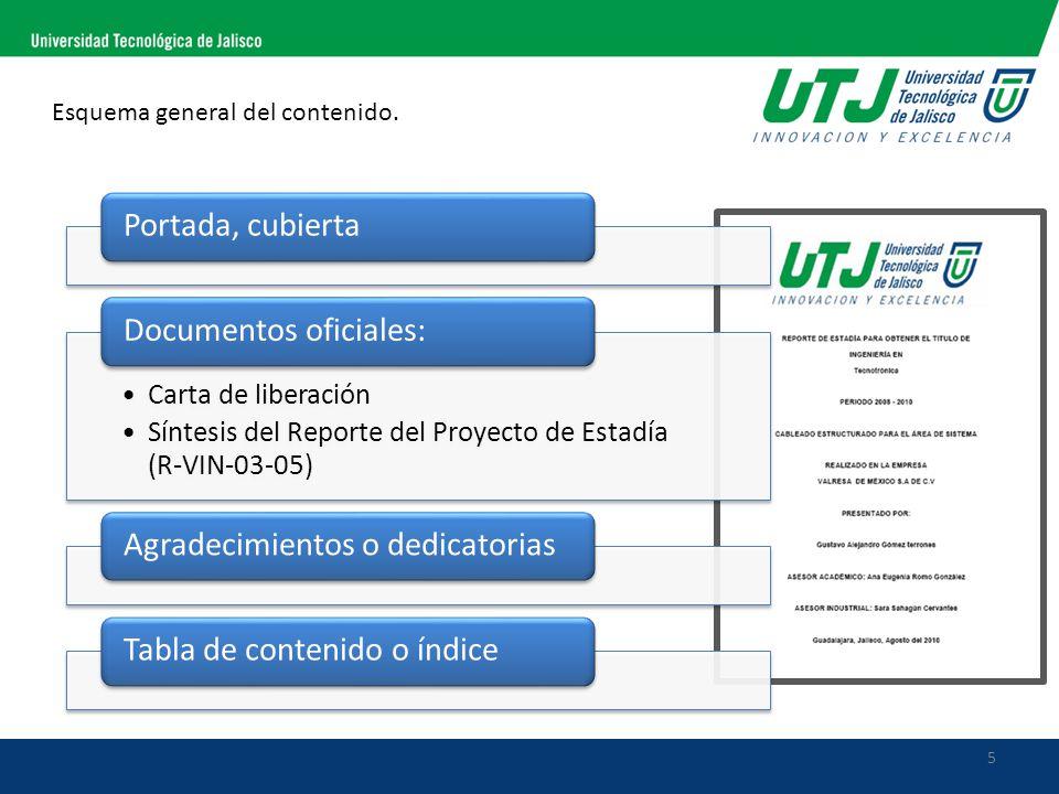 5 Esquema general del contenido. Portada, cubierta Carta de liberación Síntesis del Reporte del Proyecto de Estadía (R-VIN-03-05) Documentos oficiales