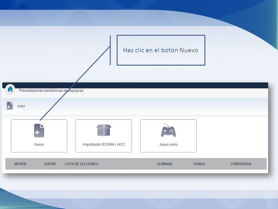 Haz clic en el botón Nuevo
