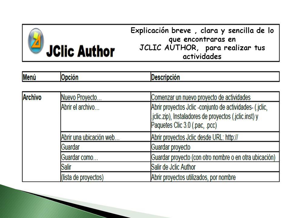 Explicación breve, clara y sencilla de lo que encontraras en JCLIC AUTHOR, para realizar tus actividades