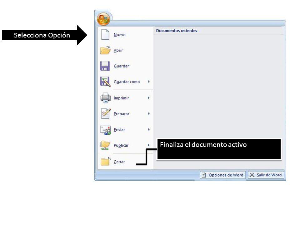 Selecciona Opción Finaliza el documento activo