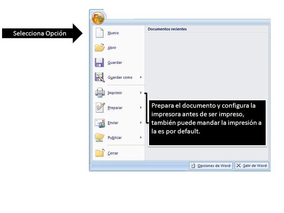 Selecciona Opción Prepara el documento y configura la impresora antes de ser impreso, también puede mandar la impresión a la es por default.