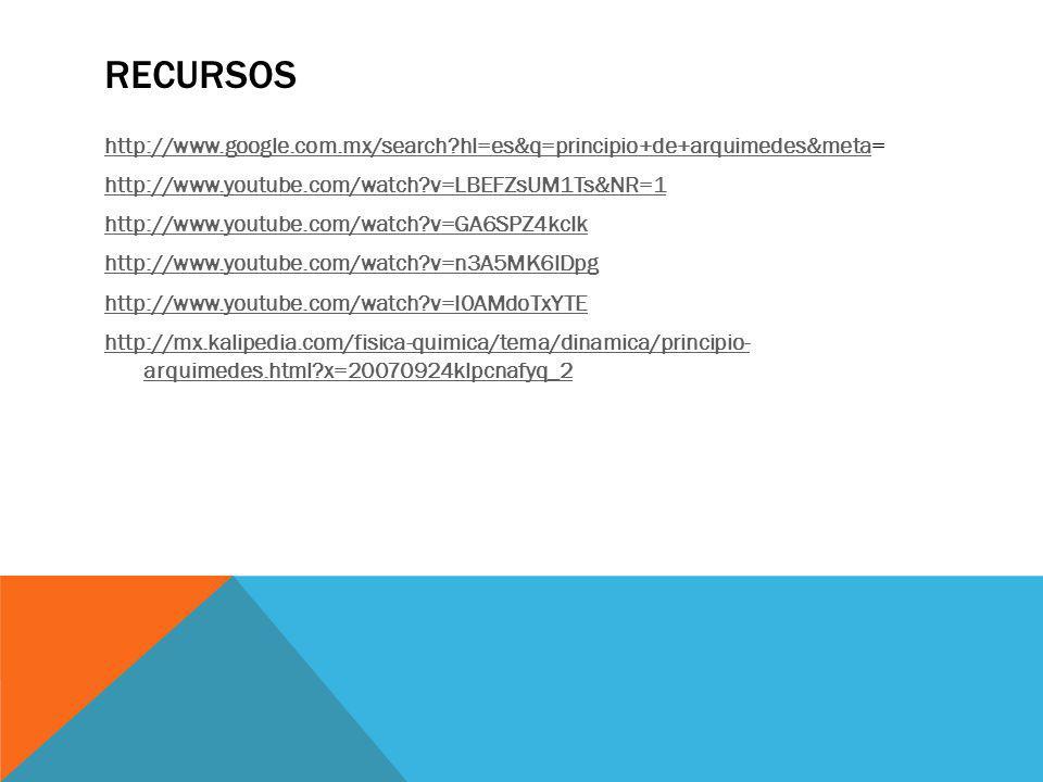 RECURSOS http://www.google.com.mx/search?hl=es&q=principio+de+arquimedes&metahttp://www.google.com.mx/search?hl=es&q=principio+de+arquimedes&meta= htt