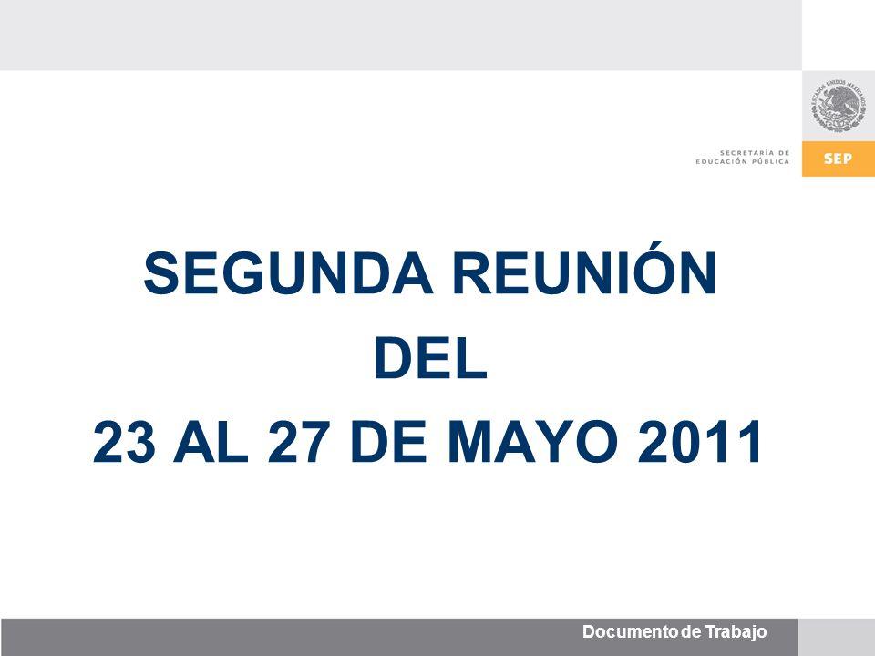 Documento de Trabajo SEGUNDA REUNIÓN DEL 23 AL 27 DE MAYO 2011