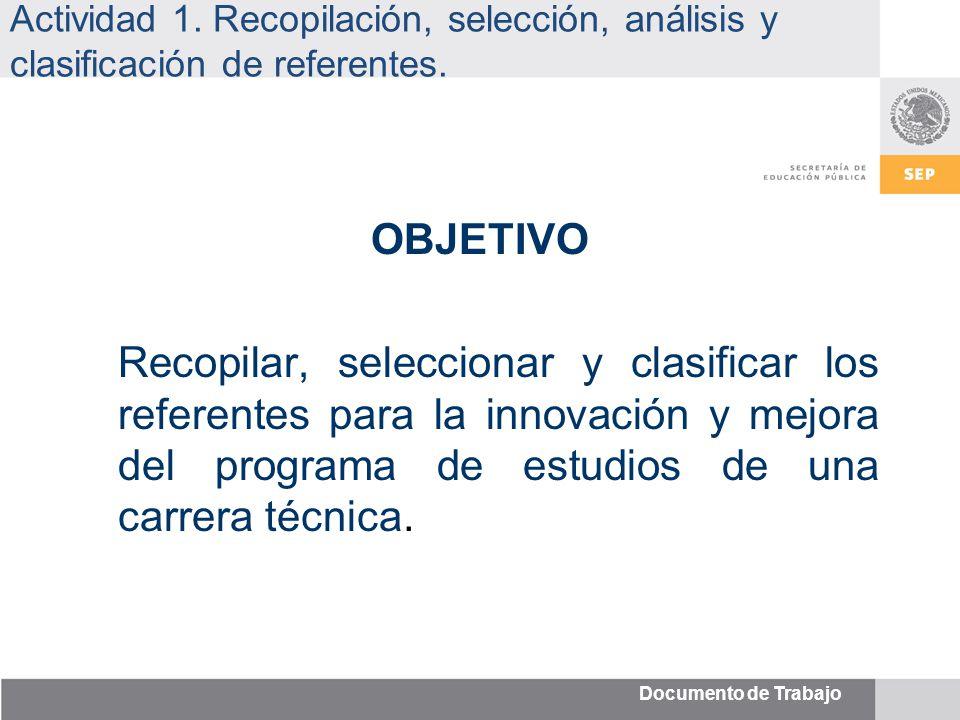 Documento de Trabajo Actividad 1. Recopilación, selección, análisis y clasificación de referentes.