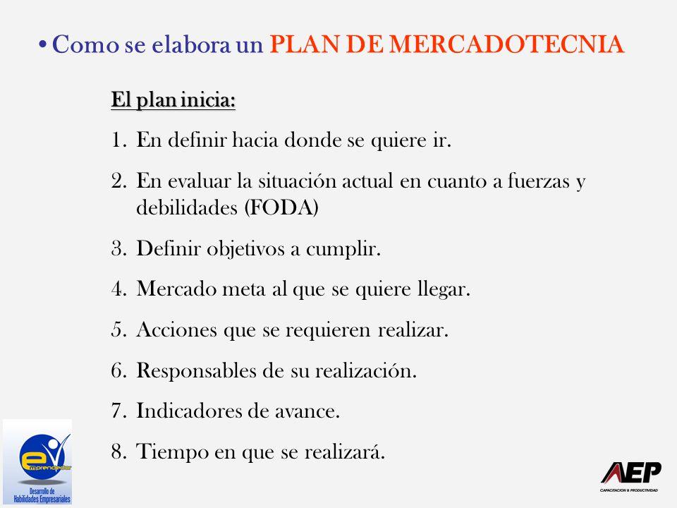 Como se elabora un PLAN DE MERCADOTECNIA El plan inicia: 1.En definir hacia donde se quiere ir. 2.En evaluar la situación actual en cuanto a fuerzas y