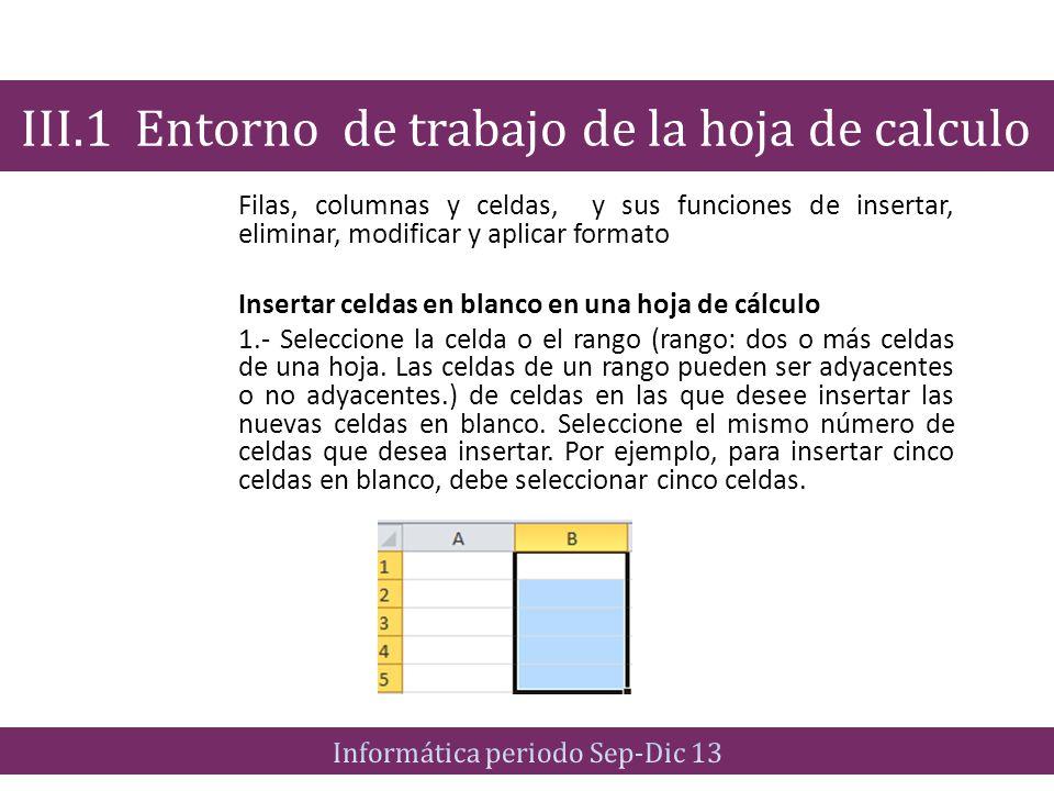 Filas, columnas y celdas, y sus funciones de insertar, eliminar, modificar y aplicar formato Insertar celdas en blanco en una hoja de cálculo 1.- Sele