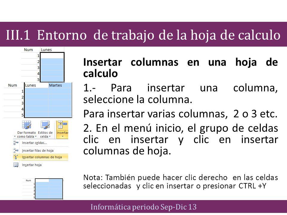 Insertar columnas en una hoja de calculo 1.- Para insertar una columna, seleccione la columna. Para insertar varias columnas, 2 o 3 etc. 2. En el menú