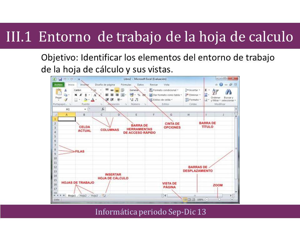 Objetivo: Identificar los elementos del entorno de trabajo de la hoja de cálculo y sus vistas. III.1 Entorno de trabajo de la hoja de calculo