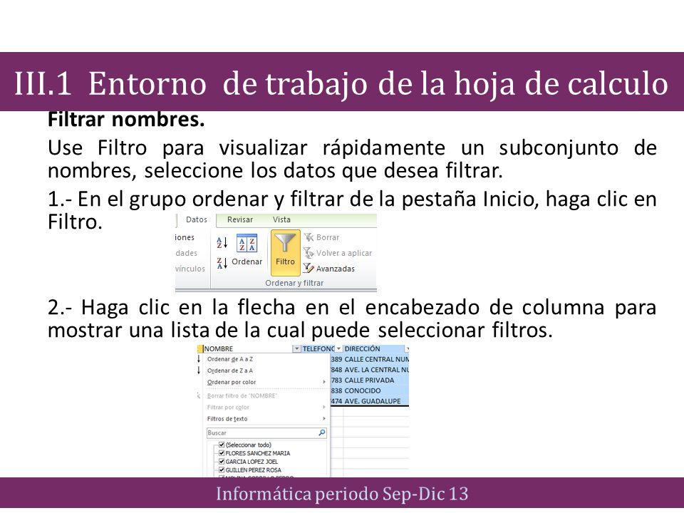 Filtrar nombres. Use Filtro para visualizar rápidamente un subconjunto de nombres, seleccione los datos que desea filtrar. 1.- En el grupo ordenar y f