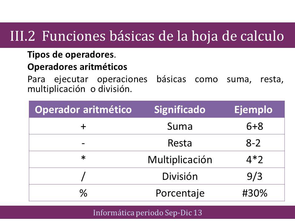 Tipos de operadores. Operadores aritméticos Para ejecutar operaciones básicas como suma, resta, multiplicación o división. III.2 Funciones básicas de