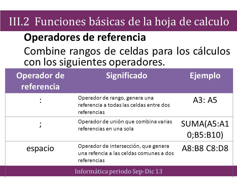 Operadores de referencia Combine rangos de celdas para los cálculos con los siguientes operadores. III.2 Funciones básicas de la hoja de calculo Opera