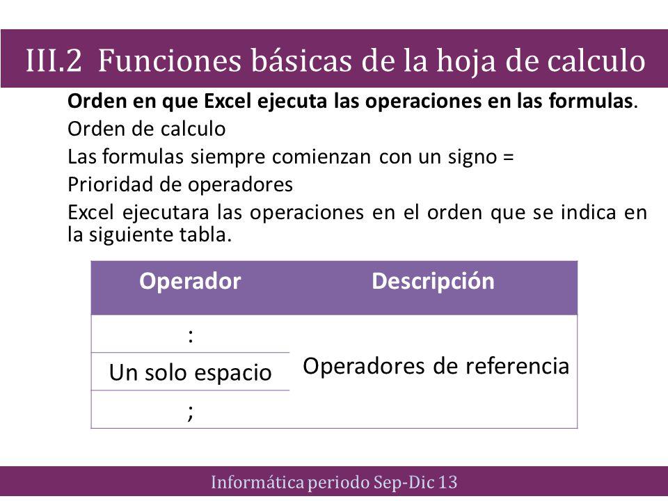 Orden en que Excel ejecuta las operaciones en las formulas. Orden de calculo Las formulas siempre comienzan con un signo = Prioridad de operadores Exc