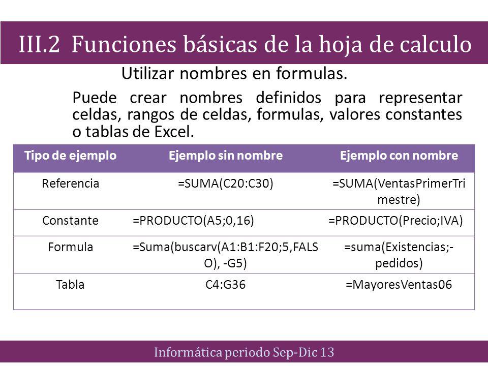 Utilizar nombres en formulas. Puede crear nombres definidos para representar celdas, rangos de celdas, formulas, valores constantes o tablas de Excel.