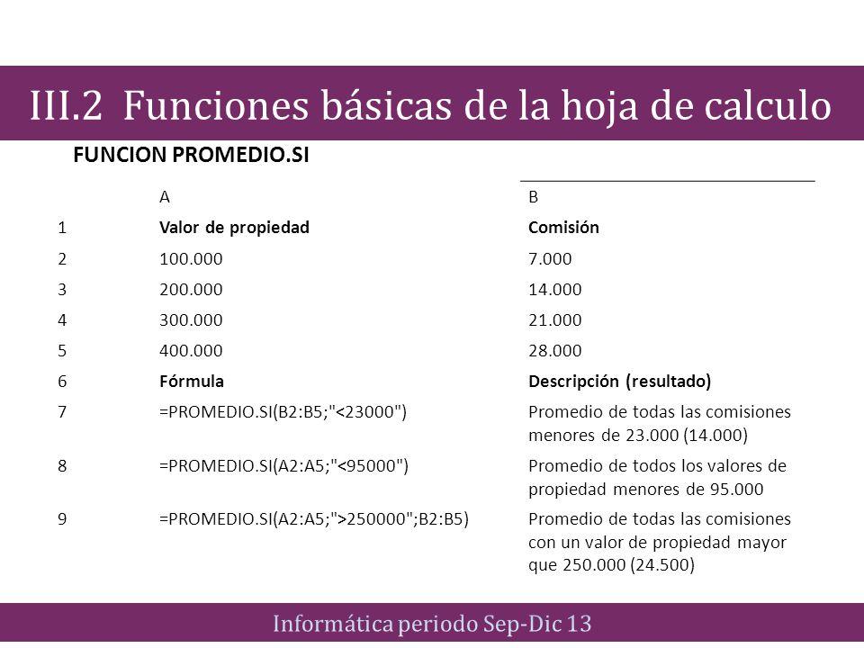 FUNCION PROMEDIO.SI III.2 Funciones básicas de la hoja de calculo AB 1Valor de propiedadComisión 2100.0007.000 3200.00014.000 4300.00021.000 5400.0002