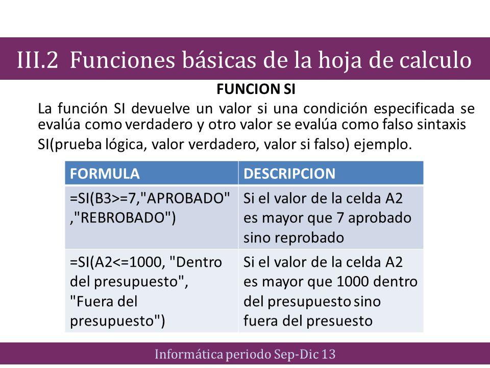 FUNCION SI La función SI devuelve un valor si una condición especificada se evalúa como verdadero y otro valor se evalúa como falso sintaxis SI(prueba