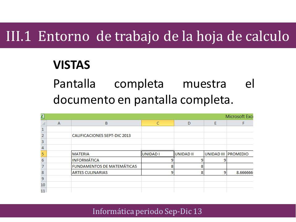 VISTAS Pantalla completa muestra el documento en pantalla completa. III.1 Entorno de trabajo de la hoja de calculo