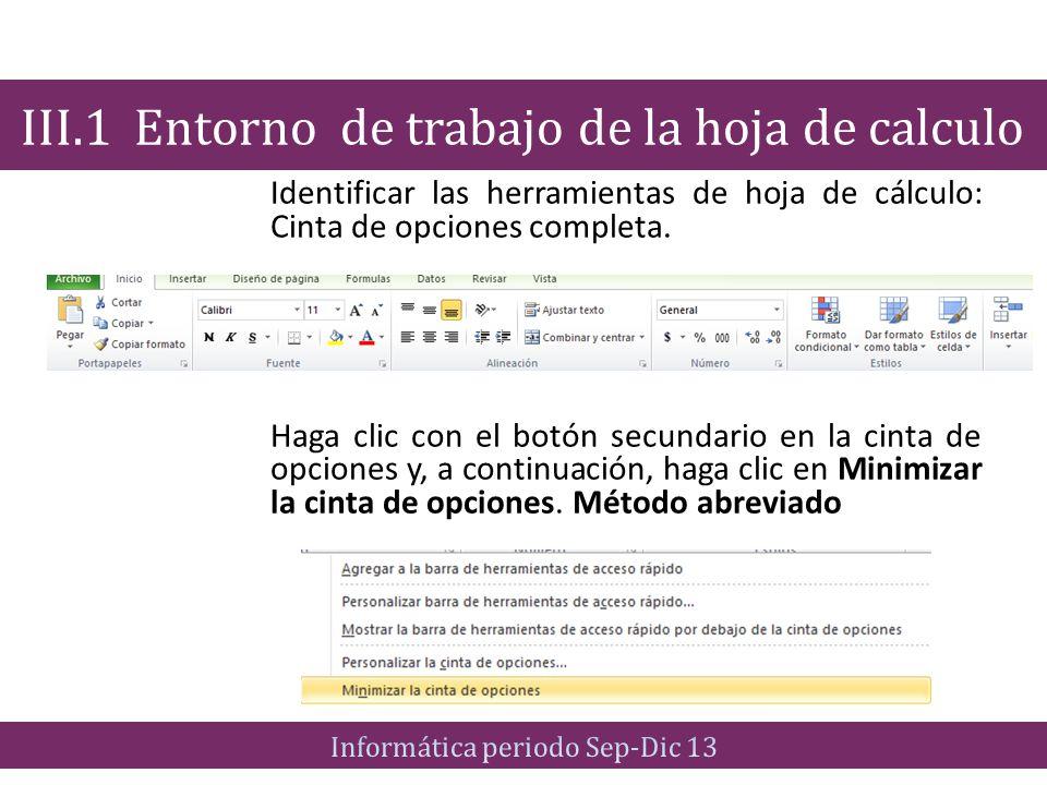 Cinta de opciones minimizada Mantener siempre la cinta de opciones minimizada III.1 Entorno de trabajo de la hoja de calculo