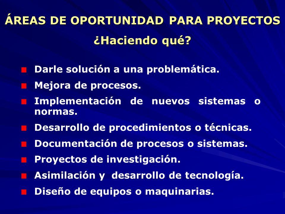 ÁREAS DE DESARROLLO ¿En dónde se puede realizar? Sector social y productivo (organizaciones públicas y privadas). Investigación y desarrollo (proyecto
