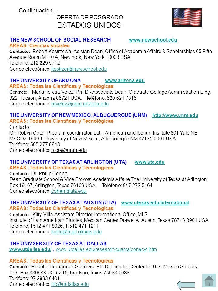 THE NEW SCHOOL OF SOCIAL RESEARCH www.newschool.eduwww.newschool.edu AREAS: Ciencias sociales Contacto: Robert Kostrzewa- Asistan Dean, Office of Academia Affaire & Scholarships 65 Fifth Avenue Room M 107A, New York, New York 10003 USA.