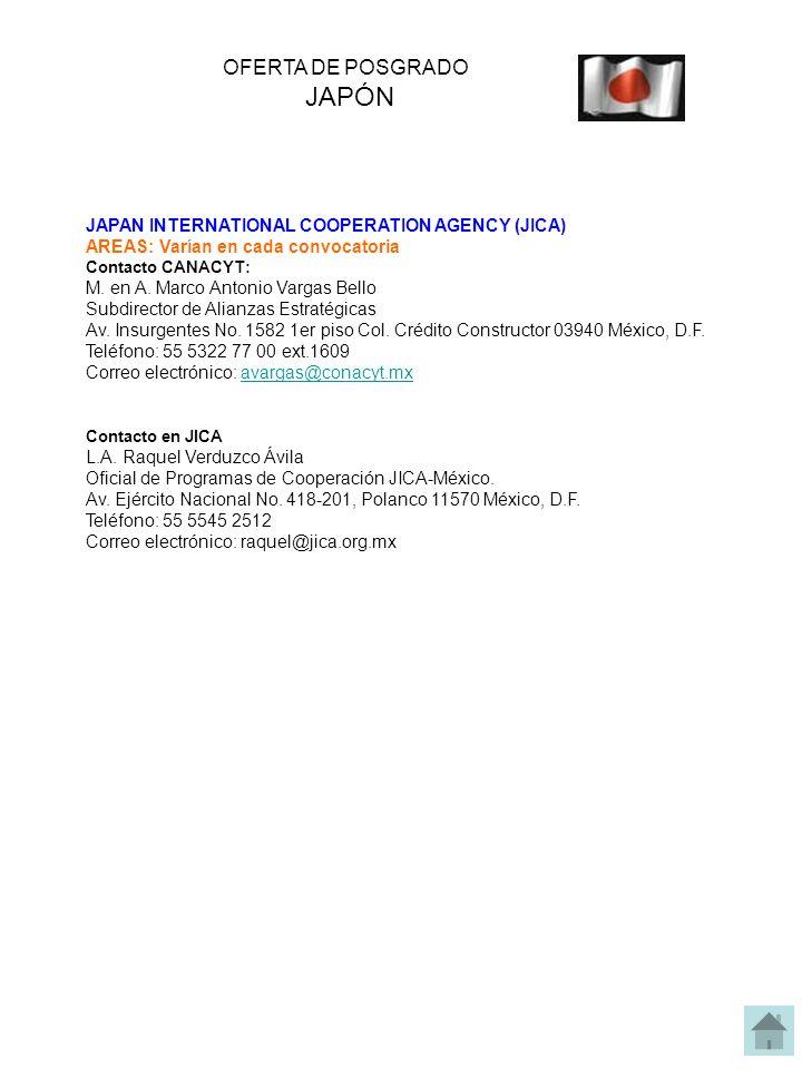 JAPAN INTERNATIONAL COOPERATION AGENCY (JICA) AREAS: Varían en cada convocatoria Contacto CANACYT: M. en A. Marco Antonio Vargas Bello Subdirector de