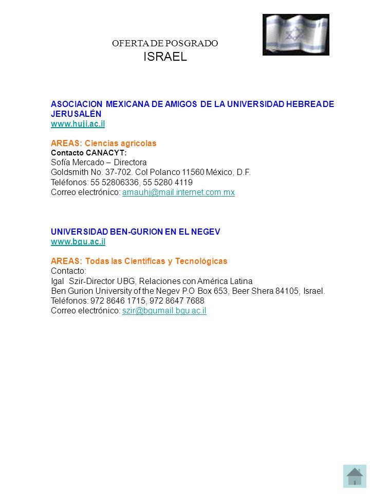 OFERTA DE POSGRADO ISRAEL ASOCIACION MEXICANA DE AMIGOS DE LA UNIVERSIDAD HEBREA DE JERUSALÉN www.huji.ac.il AREAS: Ciencias agrícolas Contacto CANACYT: Sofía Mercado – Directora Goldsmith No.