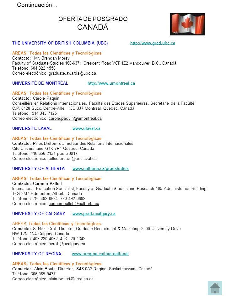 Continuación… OFERTA DE POSGRADO CANADÁ THE UNIVERSITY OF BRITISH COLUMBIA (UBC) http://www.grad.ubc.cahttp://www.grad.ubc.ca AREAS: Todas las Científicas y Tecnológicas.