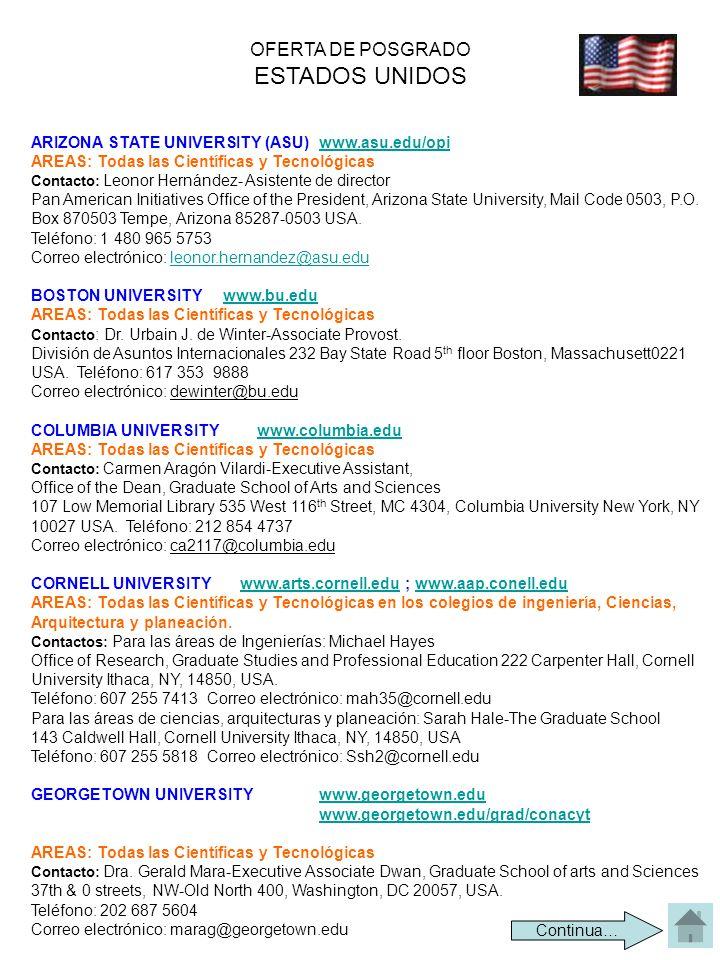 OFERTA DE POSGRADO ESTADOS UNIDOS ARIZONA STATE UNIVERSITY (ASU) www.asu.edu/opiwww.asu.edu/opi AREAS: Todas las Científicas y Tecnológicas Contacto: Leonor Hernández- Asistente de director Pan American Initiatives Office of the President, Arizona State University, Mail Code 0503, P.O.