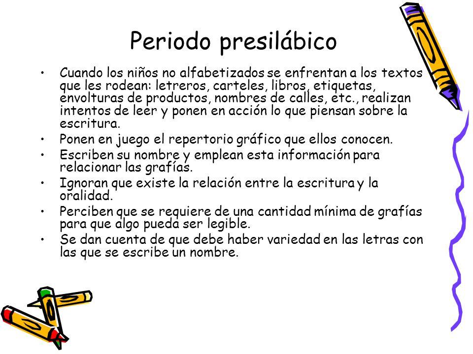 Periodo silábico En un segundo momento los niños: Comienzan a comprender que a las partes escritas corresponde una parte de oralidad.