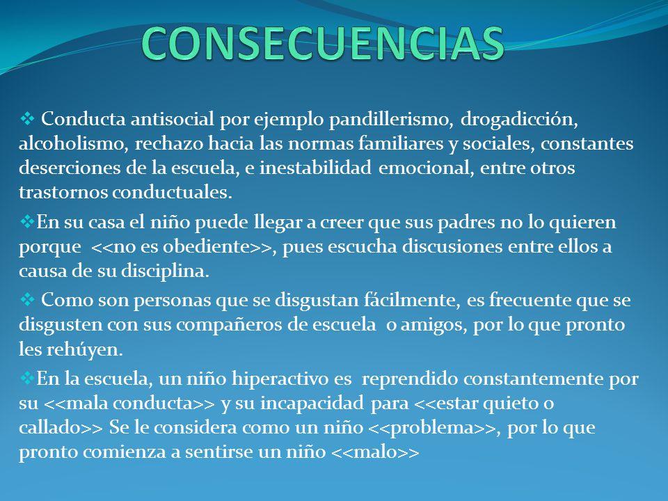 Conducta antisocial por ejemplo pandillerismo, drogadicción, alcoholismo, rechazo hacia las normas familiares y sociales, constantes deserciones de la