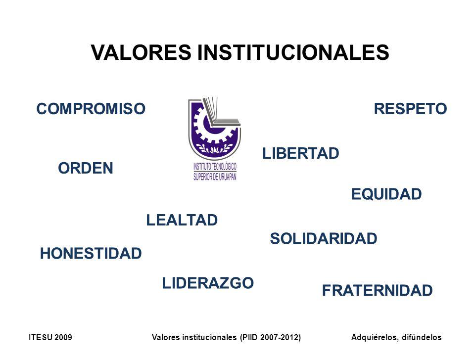 VALORES INSTITUCIONALES COMPROMISO HONESTIDAD SOLIDARIDAD RESPETO ORDEN LEALTAD FRATERNIDAD LIBERTAD LIDERAZGO EQUIDAD ITESU 2009 Valores instituciona